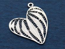 """""""Сердце"""", филигрань. Крупная серебряная подвеска 33 мм. на кулон или крупные серьги выполнена в технике филигрань"""
