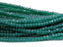 Рондели мелкие-бусины стеклянные огранённые, размер: 2,5х1.6 мм. (+- 0,1 мм.). вн.отв. 0,5 мм. Цвет бусин-изумрудный, полупрозрачный,