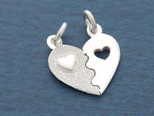 """Подвеска серебряная """"Сердце"""" 2 в 1 на двух колечках для изготовления авторских украшений Handmade: кулоны, подвески на шнур, цепочку."""