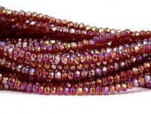 Рондели самые мелкие-бусины огранённые стеклянные, цвет бусин-прозрачный красный с золотистым переливом,