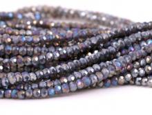 Рондели мелкие-бусины стеклянные огранённые, размер: 2,5х1.6 мм. (+- 0,1 мм.). вн.отв. 0,5 мм. Цвет бусин-серый с сиреневым оттенком, непрозрачный с радужным переливом,