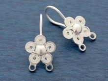"""Серебряные швензы выполнены в технике филигрань """"Цветок"""" для изготовления серёг с двумя подвесками, колечкизакрытые."""