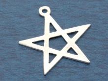 """Подвеска серебряная крупная, """"Звезда"""", размер д/ш/т–24х23х0.6 мм., у подвески одна сторона с текстурированным покрытием, другая отполированная-глянец."""