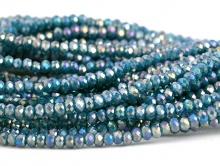Рондели мелкие-бусины стеклянные огранённые, размер: 2,5х1.6 мм. (+- 0,1 мм.). вн.отв. 0,5 мм. Цвет бусин-сине-зелёный, полупрозрачный с переливом,
