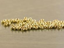 """Распорки мелкие, бусины родированные """"Мелкий шарик"""", диаметр 1,5 мм. вн. отв. 0,8 мм. Цвет-золото, родий-покрытие износостойкое."""