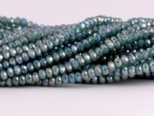 Рондели мелкие-бусины стеклянные огранённые, размер: 2,5х1.8 мм. (+- 0,1 мм.). вн.отв. 0,5 мм. Цвет бусин-полупрозрачный, серо-зелёный, с радужным переливом,