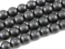 Бусина–шунгит черный, гладкий, матовый (имитация), цвет-угольно-черный матовый, размер–8 мм.