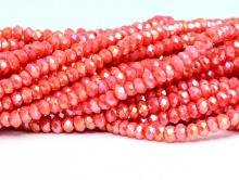 Рондели самые мелкие-бусины огранённые стеклянные, цвет бусин-коралловый непрозрачный с золотистым переливом