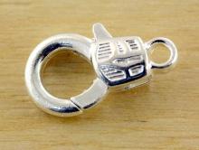 Замочек-карабин декоративный для изготовления браслетов, бус и другой бижутерии, цвет-серебро белое, размер средний