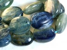 Бусины формы овал плоский, гладкий, камень-кианит натуральный.
