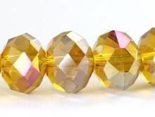 Бусина стеклянная, ограненная крупная рондель, цвет-золотистый, прозрачный с лёгким переливом.