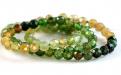 Нить бусин огранённых,  камень-турмалин форма бусин-шарик огранённый.Цвет-микс: зелёный, медовый по2-3 тона каждого, средний диаметр бусины: диаметр–2.5