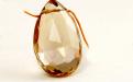 огранённая бусина из цитрина, форма крупногоудлинённого лепестка, камень-цитрин природный.