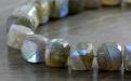 Камень-лабрадор натуральный, бусина огранённая форма кубик, цвет-серый с сине-голубым, золотистым переливом. Размер–6.5 (+0.3) мм.
