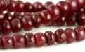 Бусина-полированная рондель, камень корунд натуральный (рубин второй сорт), цвет-красно-малиновый, полупрозрачный.