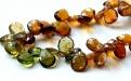Бусина формы огранённый лепесток, камень-турмалин натуральный первосортный, цвет-микс: прозрачный зеленый, янтарно-золтистый