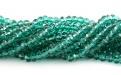 Бусины  огранённые стеклянные, форма-рондель, цвет-прозрачный изумрудный,