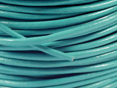 Кожаный шнур в диаметре, цвет TURQUOISE (бирюзовый) для рукоделия