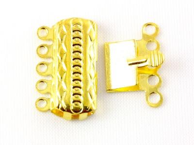 Замок-застежка на 5 нитей цвет-золото 19,5 мм. для изготовления увелирных украшений Handmade, таких как браслеты, колье, бусы,