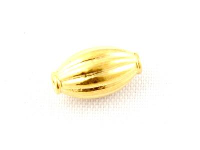 """Бусина из серебра позолоченная """"Бочонок"""". Состав-cеребро 925 пробы с покрытием золота 24 kr размер в/ш-8.7x5.3 мм. внутр. отверстие 0.9 мм."""
