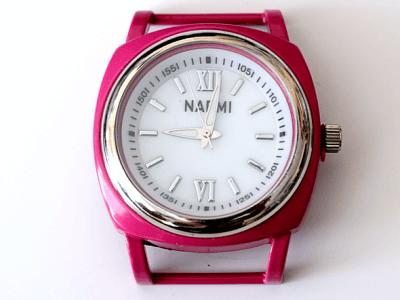 Кварцевые часы HARMI, цвет корпуса розово-малиновый цыферблат белый с серебристой отделкой, диаметр 39.8 мм. общий размер с отверстиями под ремешок-50 мм. отверстие для ремешка или браслета 18.5 мм.х5.4 мм.