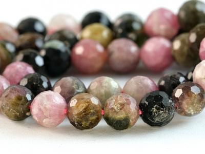 Камень-турмалин натуральный, форма бусин-шарик огранённый.Цвет-микс: розовый, зелёный, медовый по2-3 тона каждого,