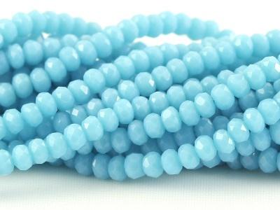 Рондели мелкие-бусины стеклянные огранённые, цвет бусин-непрозрачный нежно-голубой, размер: 3х2 мм.