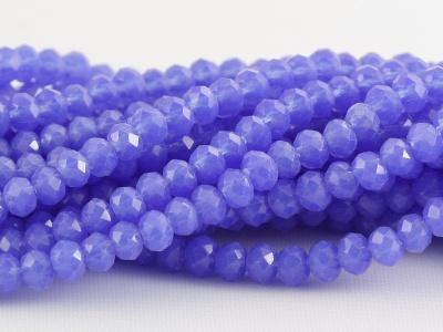 Рондели мелкие-бусины стеклянные огранённые, цвет бусин-непрозрачный сиренево-голубой, размер: 3х2 мм. (+- 0,1 мм.).