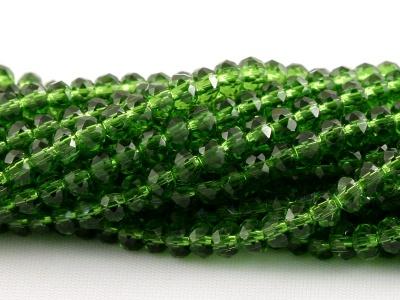 Рондели мелкие-бусины стеклянные огранённые, размер: 3х2 мм. (+- 0,1 мм.).Цвет бусин-прозрачный изумрудно-зелёный.