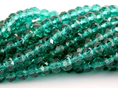 Бусины  огранённые стеклянные, форма-рондель, цвет бусин-прозрачный зелёный (изумрудный),