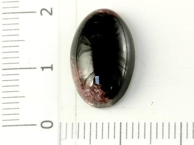 кабошон-камень натуральный турмалин, цвет чёрный с розовыми пятнами сверху и снизу