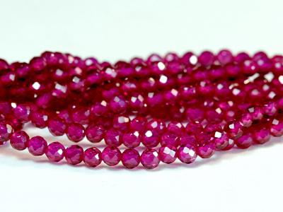 Бусина шарик огранённый, ручной огранки,искусственно выращенныйкамень-шпинель благородная,(розовая), цвет-малиново-розовый чистый,