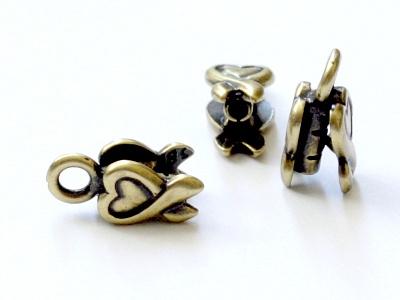 Миниатюрный концевик цвта античной латуни на шнур от 1.0 до 1.2 мм. для изготовления украшений.