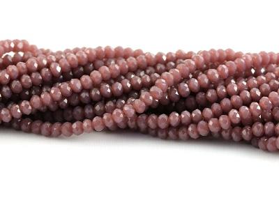 рондели огранённые, цвет бусин-непрозрачный розовато-серо-коричневый матовый, размер 3х2 мм.
