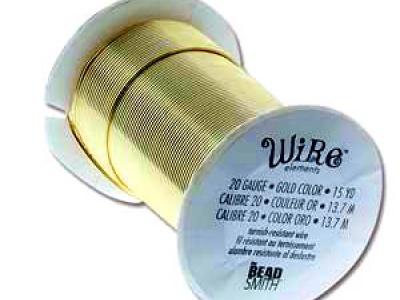 Проволока полужесткая Craft Wire Tarnish resistante для творческих работ.  цвет-золото, покрытие-лакированная